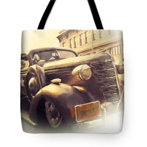 Tote Bag featuring the painting Waiting For Bonnie And Clyde by Chris Armytage