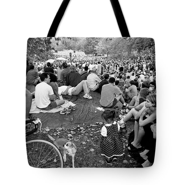 Tote Bag featuring the photograph Waiting For Dali Lama Central Park by Dave Beckerman