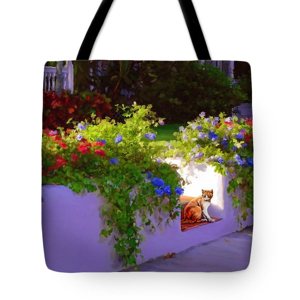 Tote Bag featuring the painting Waiting For Friends by David  Van Hulst