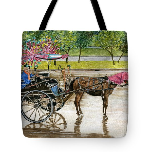 Tote Bag featuring the painting Waiting For Rider Jakarta Indonesia by Melly Terpening