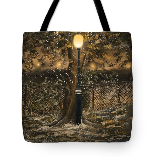Tote Bag featuring the painting Waiting For The Snow by Veronica Minozzi