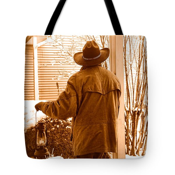 Waiting For The Storm - Sepia Tote Bag
