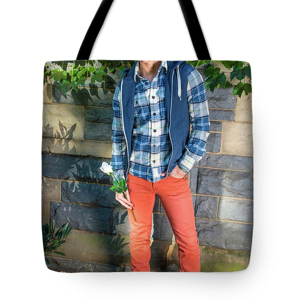 Young Man Waiting For You Tote Bag