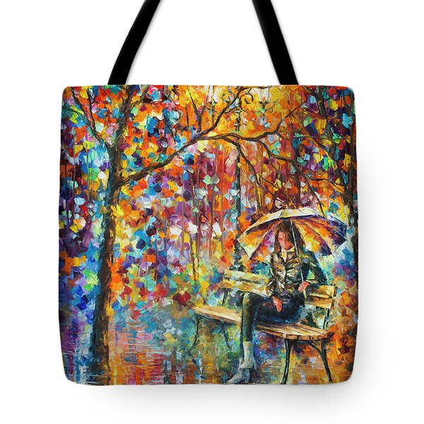 Waiting In The Rain Tote Bag by Leonid Afremov