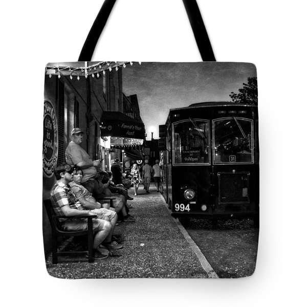 Waiting On A Bus In Black And White Tote Bag