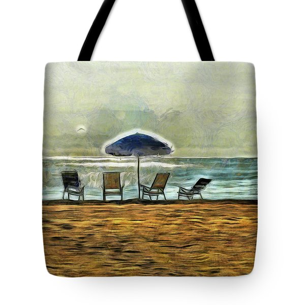 Tote Bag featuring the mixed media Waiting On High Tide by Trish Tritz