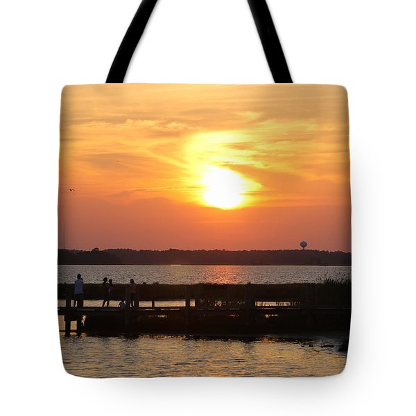 Waiting On Sunset Tote Bag by Robert Banach