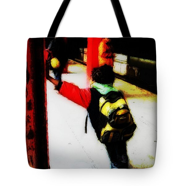 Waiting On The Q Train In Flatbush Tote Bag by Iowan Stone-Flowers