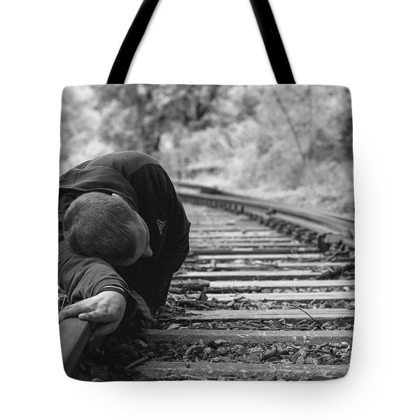 Waiting On The Rails Tote Bag