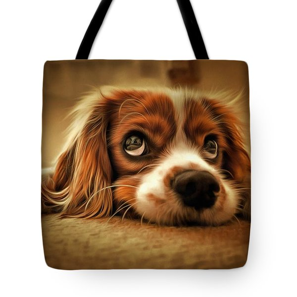 Tote Bag featuring the painting Waiting Pup by Harry Warrick