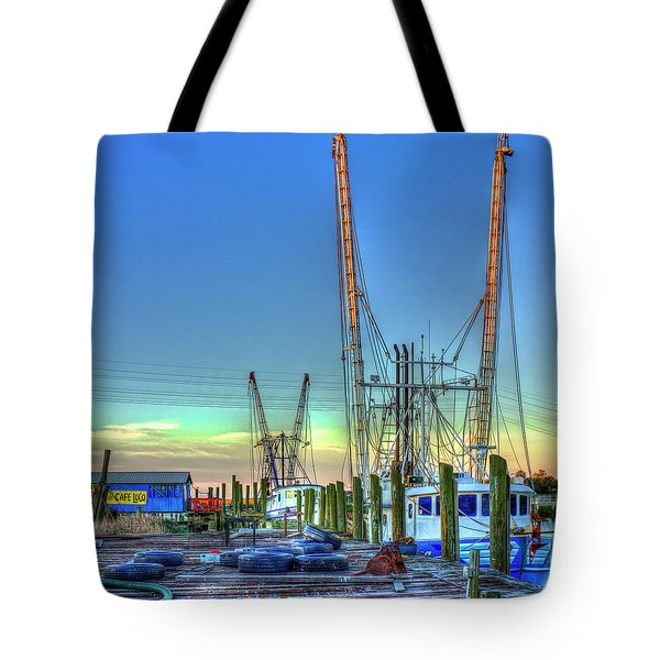Tote Bag featuring the photograph Waiting Shrimp Boats Wilmington River Tybee Island Georgia Art by Reid Callaway