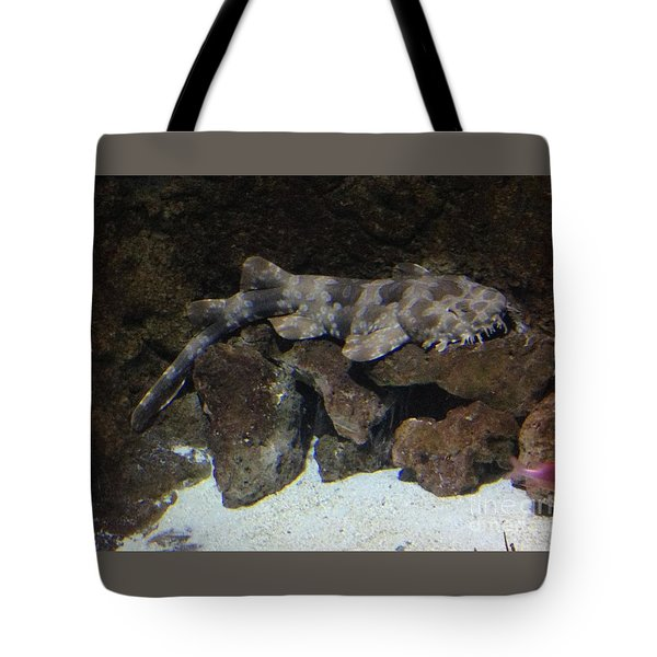 Waiting To Eat You - Spotted Wobbegong Shark Tote Bag by Richard W Linford