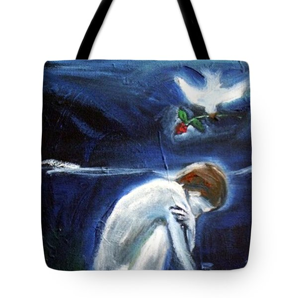 Tote Bag featuring the painting Waiting by Winsome Gunning