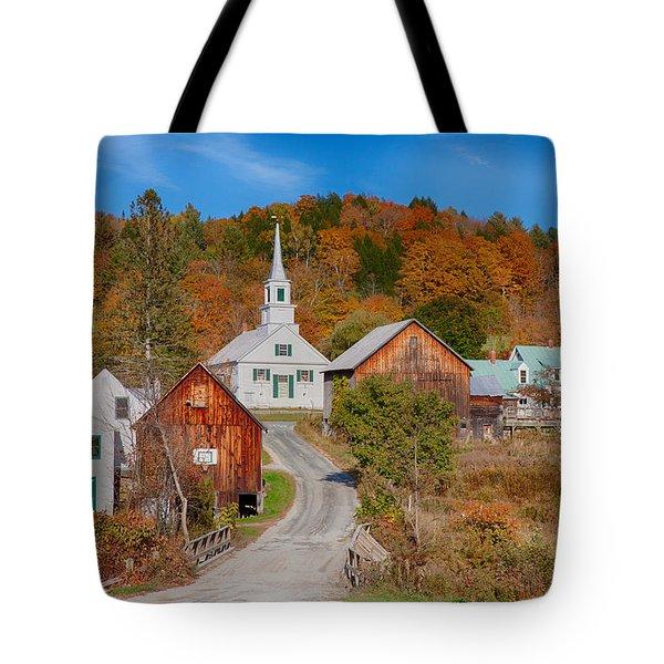 Waits River Church In Autumn Tote Bag