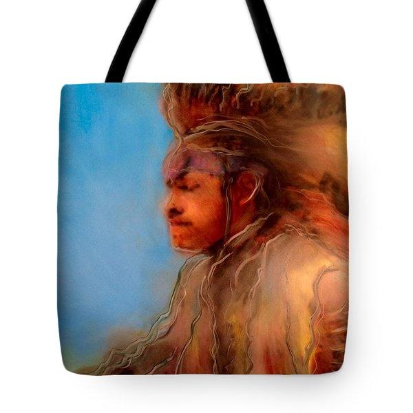 Tote Bag featuring the painting Wakantanka Maka Kin Kaye by FeatherStone Studio Julie A Miller