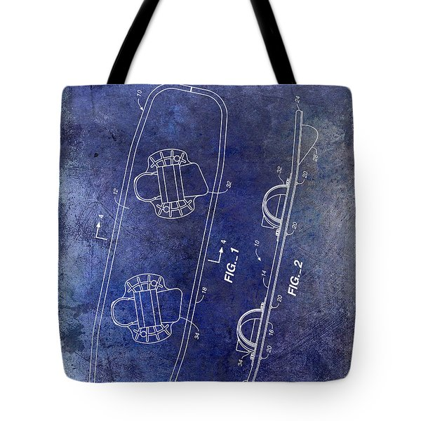 Wakeboard Patent Drawing Blue Tote Bag