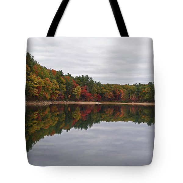 Walden Pond Fall Foliage Concord Ma Reflection Trees Tote Bag