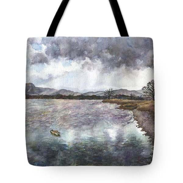 Tote Bag featuring the painting Walden Ponds On An April Evening by Anne Gifford