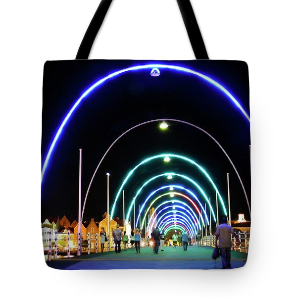 Tote Bag featuring the photograph Walk Along The Floating Bridge, Willemstad, Curacao by Kurt Van Wagner