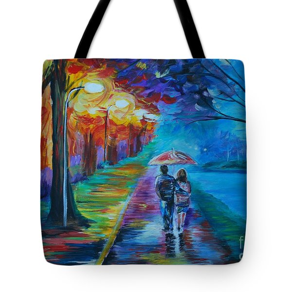 Tote Bag featuring the painting Walk By The Lake  by Leslie Allen