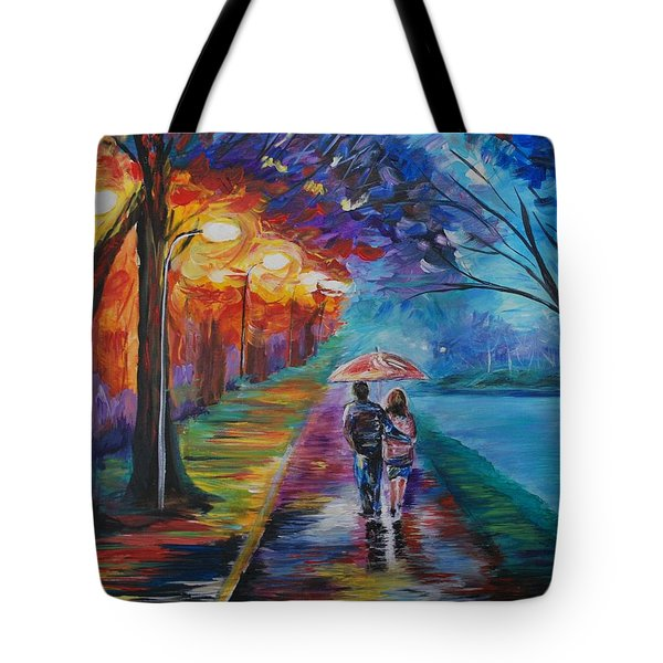 Tote Bag featuring the painting Walk By The Lake Series 1 by Leslie Allen