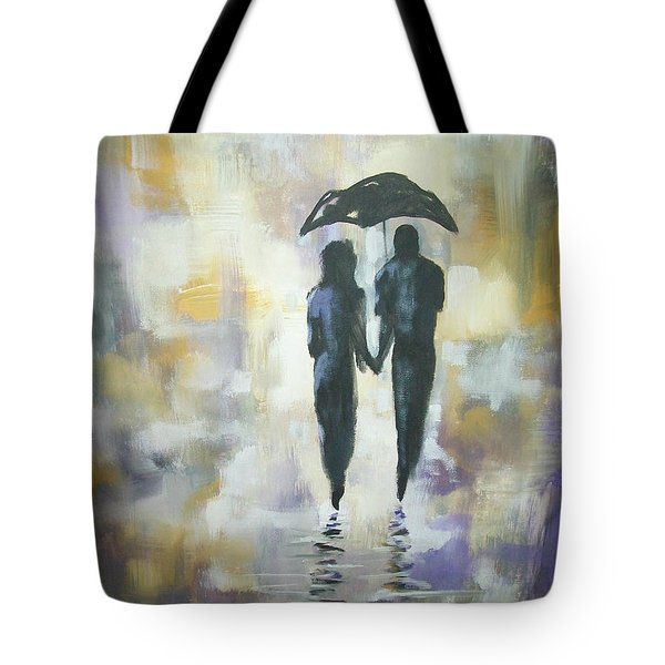Tote Bag featuring the painting Walk In The Rain #3 by Raymond Doward