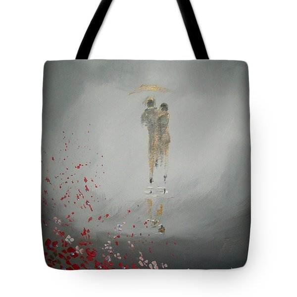 Tote Bag featuring the painting Walk In The Storm by Raymond Doward