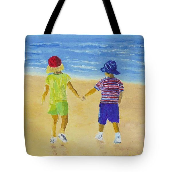 Tote Bag featuring the painting Walk On The Beach by Rodney Campbell
