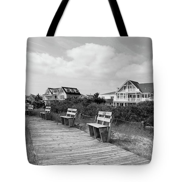 Walk Through The Dunes In Black And White Tote Bag