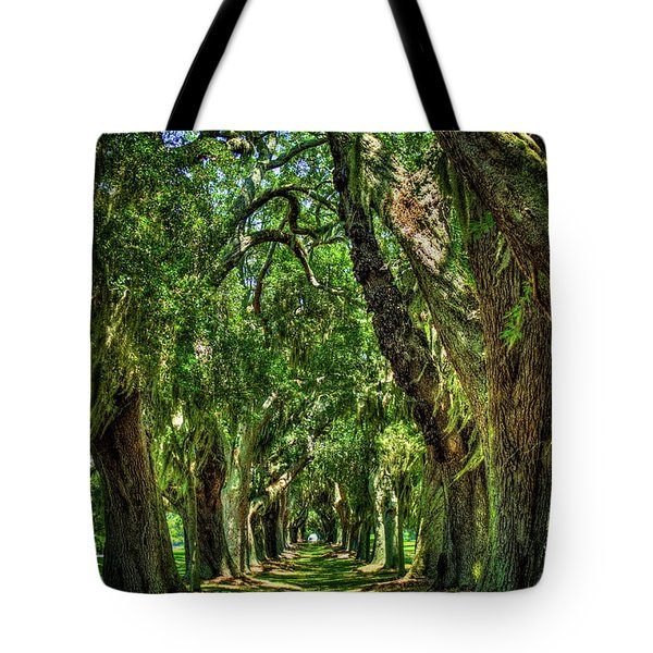 Tote Bag featuring the photograph Walk With Me Avenue Of Oaks St Simons Island Art by Reid Callaway