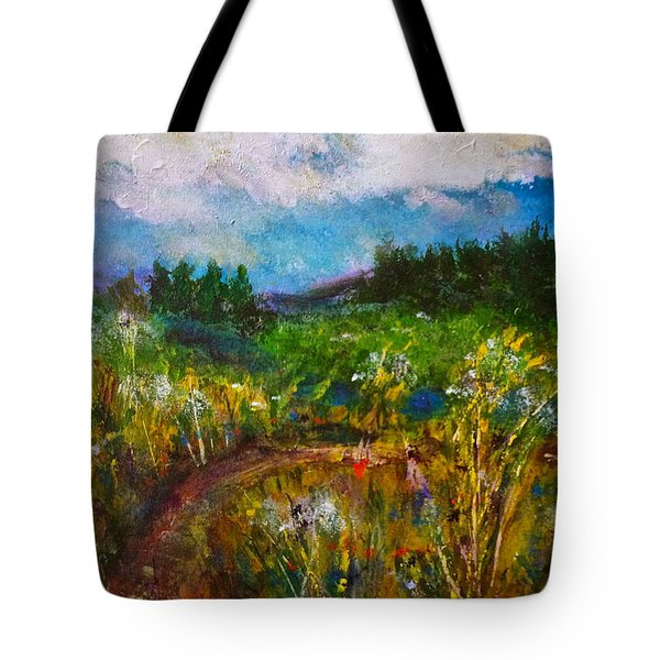 Tote Bag featuring the painting Walk With Me by Claire Bull
