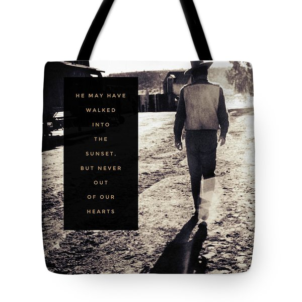 Walked Into The Sunset But Not Out Of Our Heart.  Tote Bag by Michele Carter