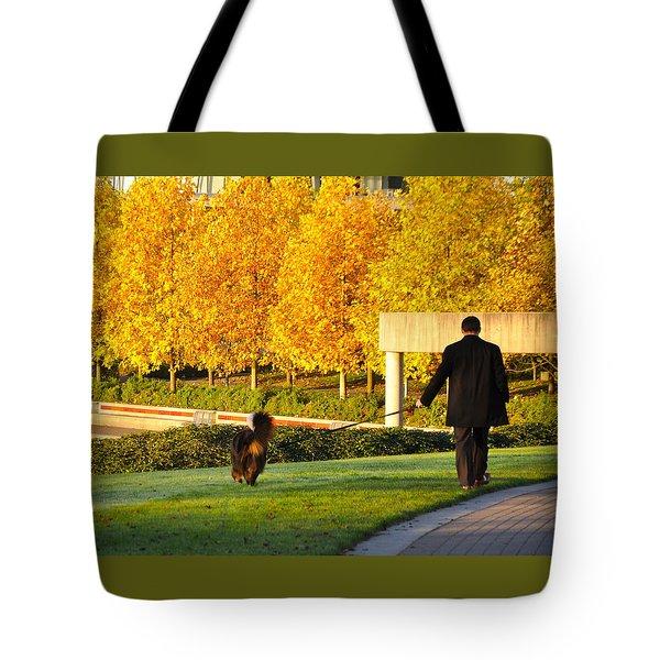 Walkies In Autumn Tote Bag