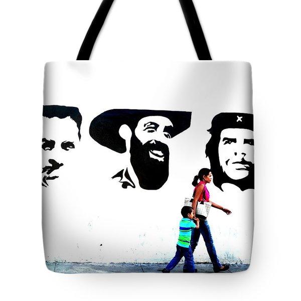 Walking A Revolution Wall In Havana Cuba  Tote Bag