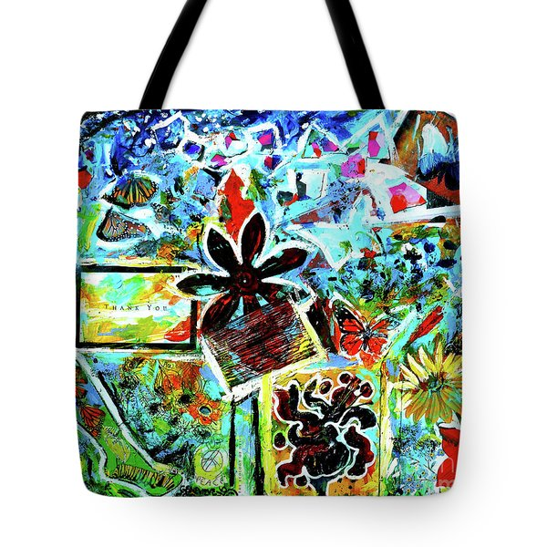 Tote Bag featuring the mixed media Walking Amongst The Monarchs by Genevieve Esson