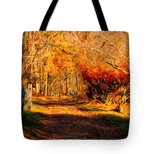 Tote Bag featuring the photograph Walking Down The Autumn Path by Jeff Folger
