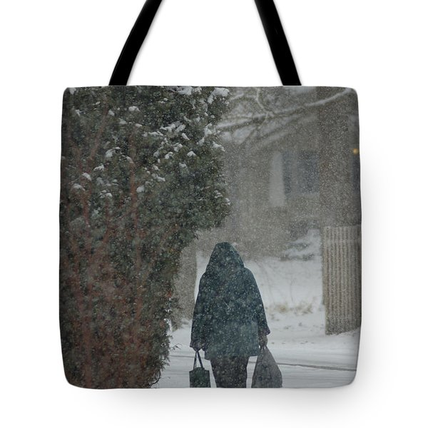Walking Home In The Snow Tote Bag