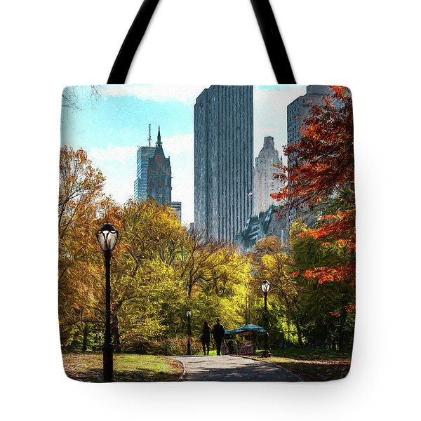 Walking In Central Park Tote Bag