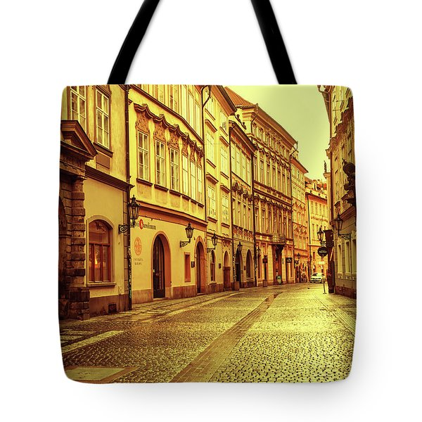 Tote Bag featuring the photograph Walking In Prague. Series Golden Prague by Jenny Rainbow