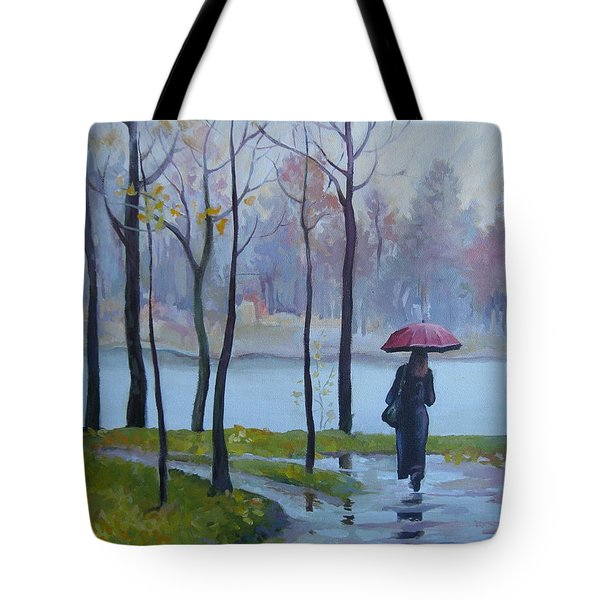 Tote Bag featuring the painting Walking In The Rain by Elena Oleniuc