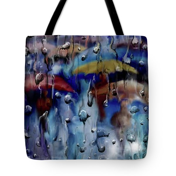 Tote Bag featuring the digital art Walking In The Rainfall by Darren Cannell