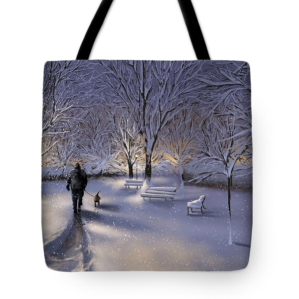 Tote Bag featuring the painting Walking In The Snow by Veronica Minozzi