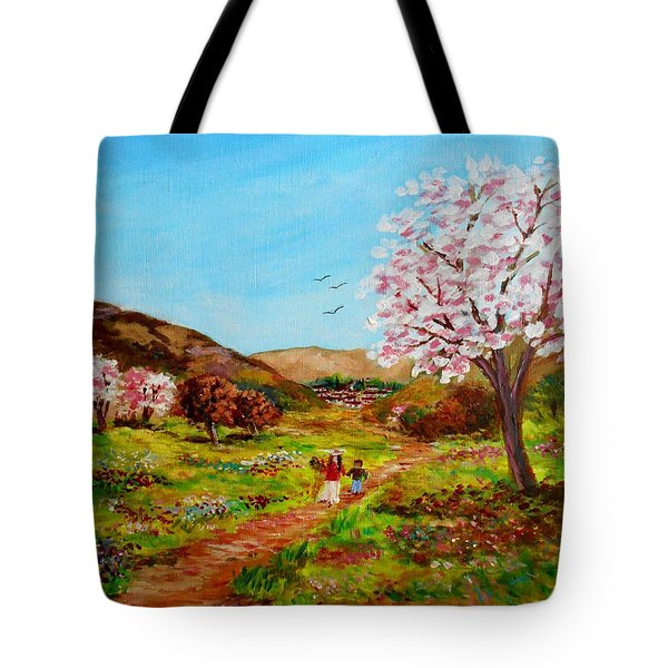 Walking Into The Springfields Tote Bag by Constantinos Charalampopoulos