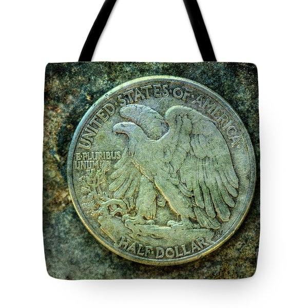Tote Bag featuring the digital art Walking Liberty Half Dollar Reverse by Randy Steele
