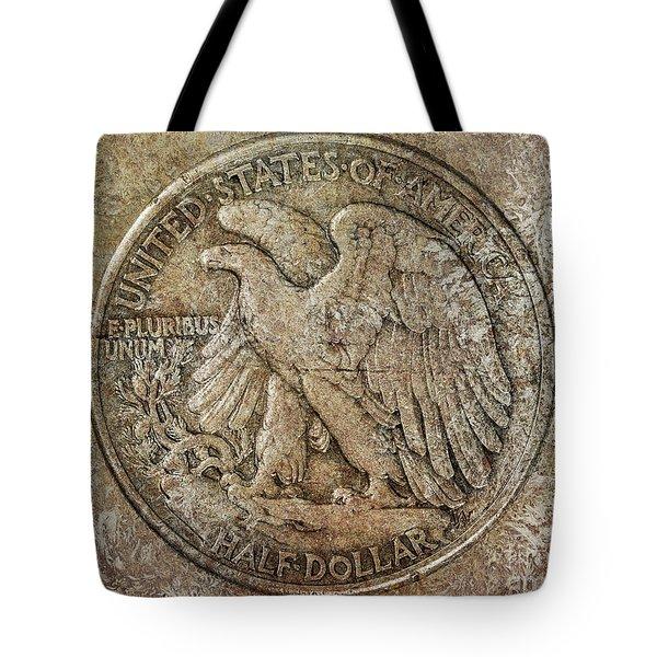 Tote Bag featuring the digital art Walking Libery Half Dollar Reverse by Randy Steele