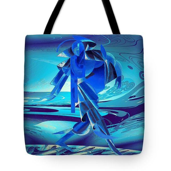 Tote Bag featuring the digital art Walking On A Stormy Beach by Robert G Kernodle