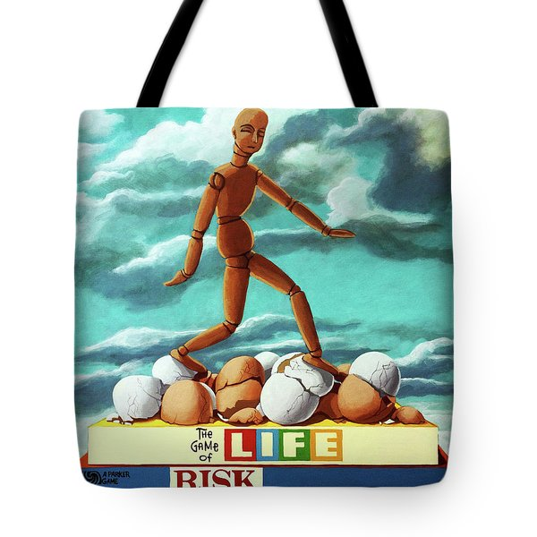 Tote Bag featuring the painting Walking On Eggshells Imaginative Realistic Painting by Linda Apple