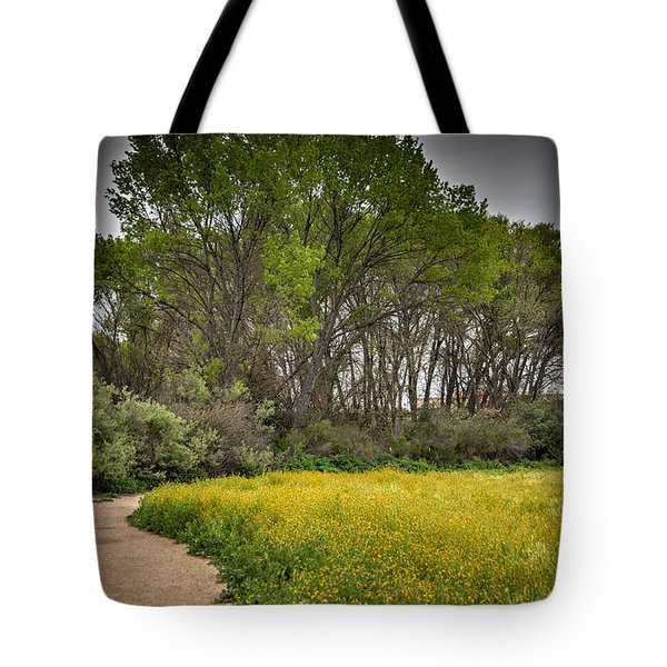 Walking Path In Tall Oak Trees In Spring Tote Bag