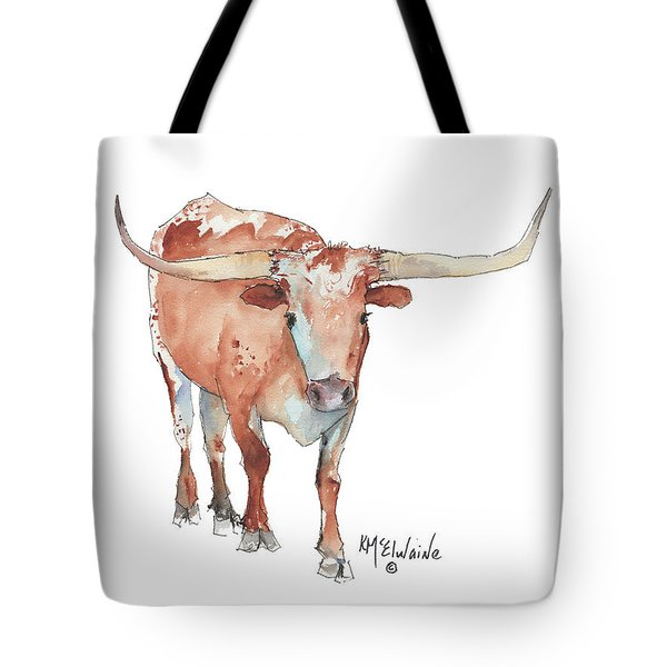 Walking Tall Texas Longhorn Watercolor And Ink By Kmcelwaine Tote Bag