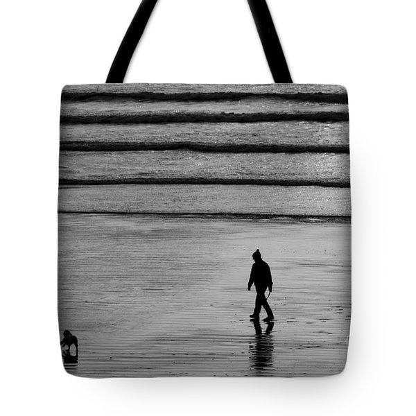 Tote Bag featuring the photograph Walking The Dog At Marazion by Brian Roscorla